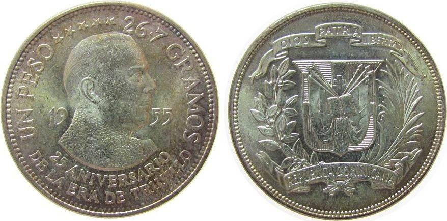 1 Peso 1955 Dominikanische Republik Ag Trujillo, wenige Handlingsmarken, etwas Patina unz
