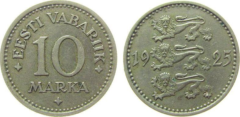 10 Mark 1925 Estland NiBr Wappen ss