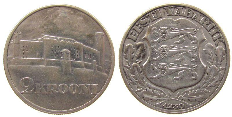 2 Krooni 1930 Estland Ag Schloss von Tallinn vz