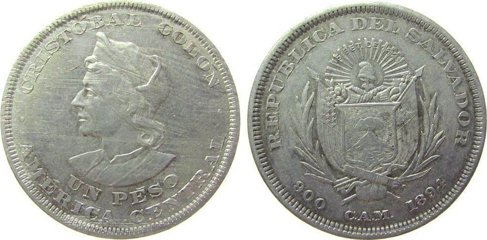 1 Peso 1894 El Salvador Ag Kolumbus, C.A.M., kleine Randfehler ss+