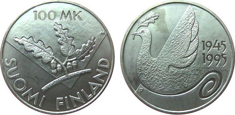 100 Markka 1995 Finnland Ag Vereinte Nationen, Taube, etwas angelaufen unz