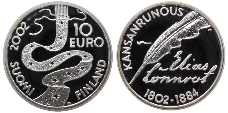 10 Euro 2002 Finnland Ag 200. Geburtstag von Elias Lönnrot pp