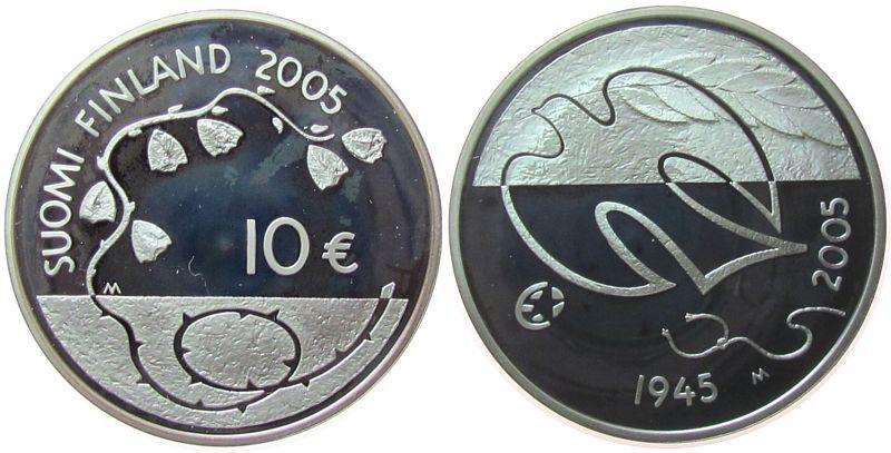 10 2005 Finnland Ag 60 Jahre Frieden und Freiheit, etwas fleckig pp