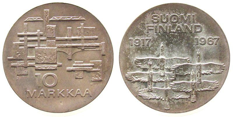 10 Markka 1967 Finnland Ag 50 Jahrestag Unabhängigkeit, Wildgänse unz