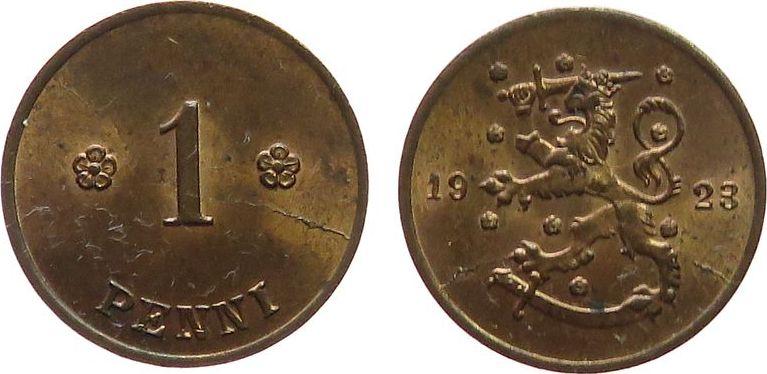 1 Pennia 1923 Finnland Ku Wappen, Stempelriß unz