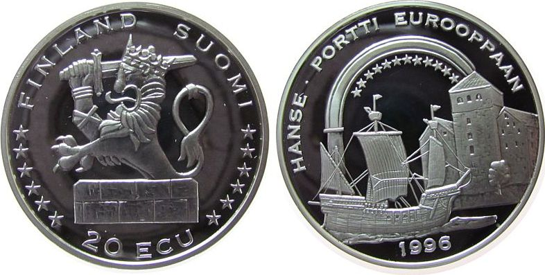 20 Ecu 1996 Finnland Ag die Hanse, Segelschiff pp