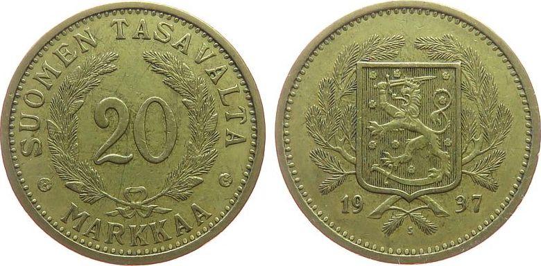 20 Markka 1937 Finnland AlBr Wappen ss