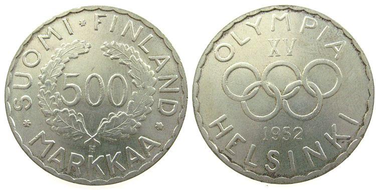 500 Markka 1952 Finnland Ag Olympiade vz
