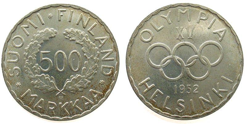 500 Markka 1952 Finnland Ag Olympiade vz-unc