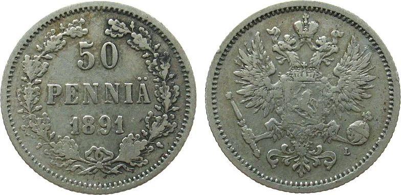 50 Pennia 1891 Finnland Ag Siegs 38 ss
