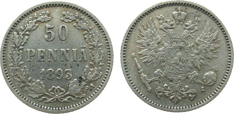 50 Pennia 1893 Finnland Ag Siegs 38 ss-