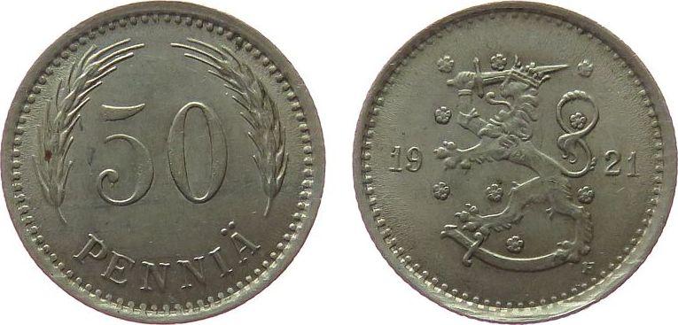 50 Pennia 1921 Finnland KN Wappen, H unz