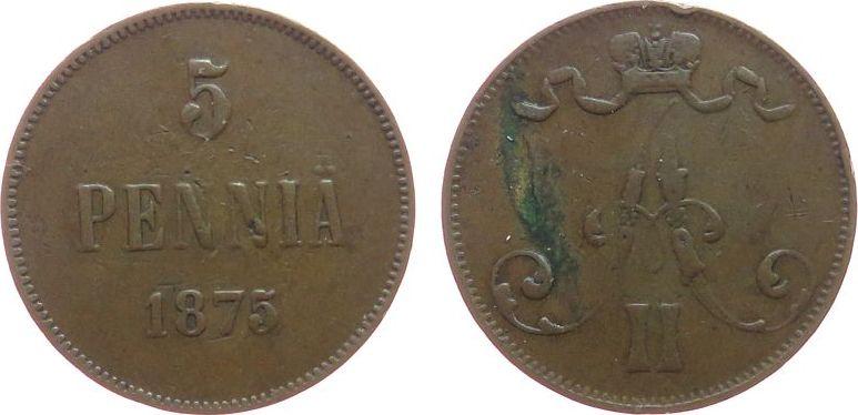 5 Pennia 1875 Finnland Ku Alexander II. von Rußland (1855-1881), Randstoß schön