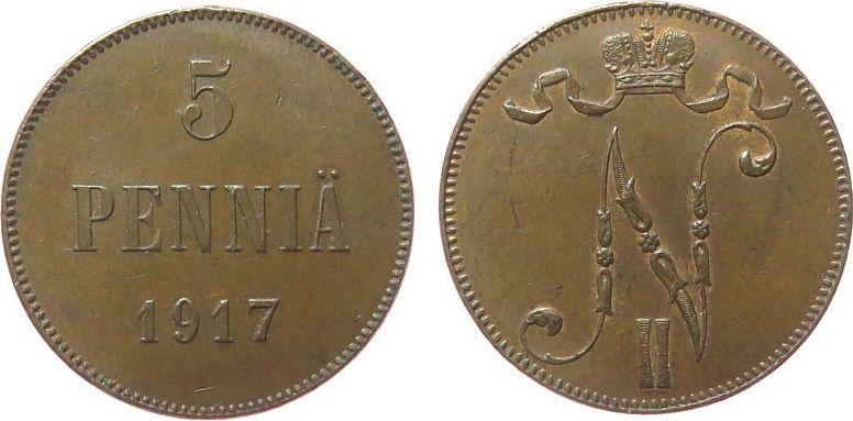 5 Pennia 1917 Finnland Ku Nikolaus II. von Russland 1894-1917 vz