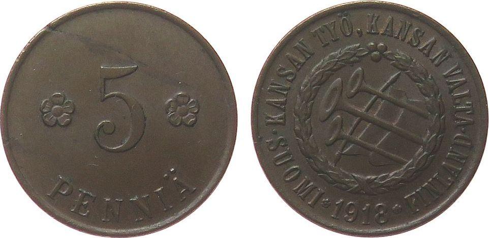 5 Pennia 1918 Finnland Ku Provisorische Regierung, kleiner Randfehler ss+