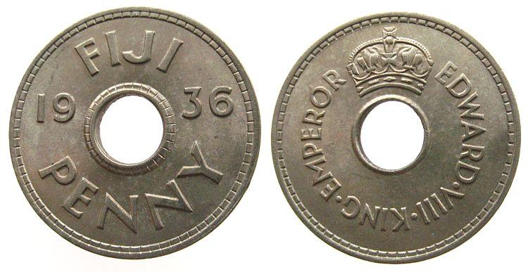 1 Penny 1936 Fidschi Inseln KN Edward VIII, Schön 2 unz