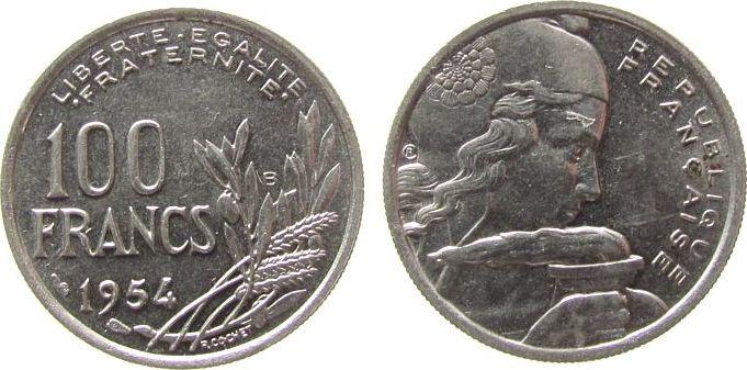 100 Francs 1954 Frankreich KN Cochet, B vz-unc