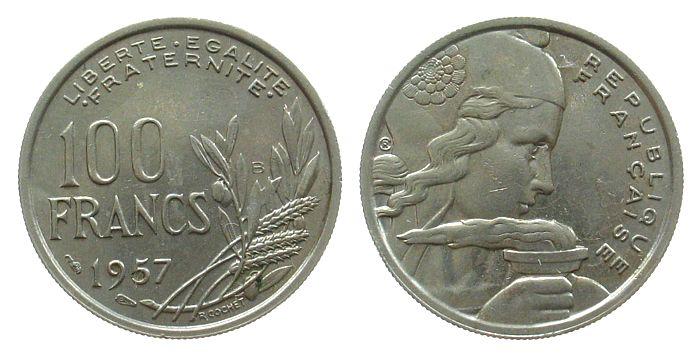 100 Francs 1957 Frankreich KN Cochet, B vz