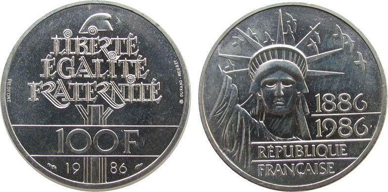 100 Franc 1986 Frankreich Ag Freiheitsstatue, Piedfort, etwas berieben vz-unc
