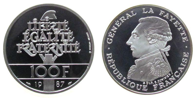 100 Francs 1987 Frankreich Ag Lafayette pp