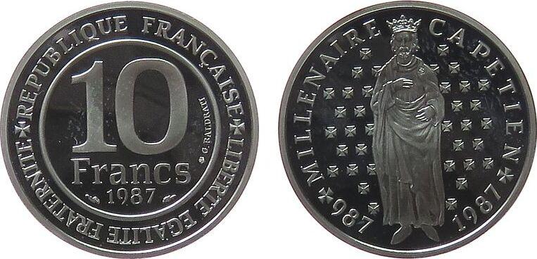 10 Francs 1987 Frankreich Ag Hugo Capet, etwas fleckig pp