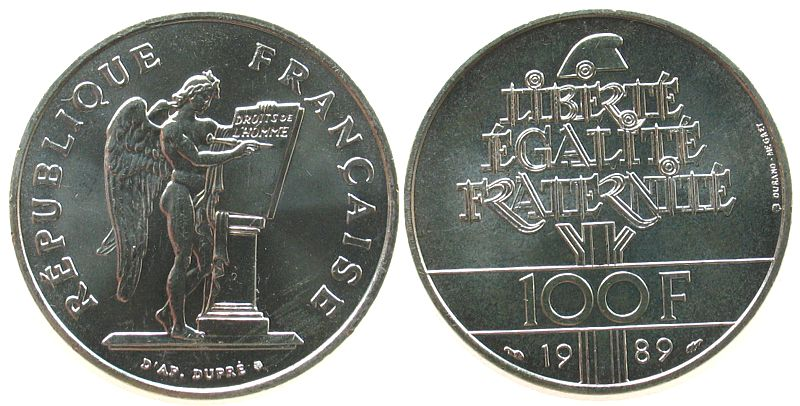 100 Francs 1989 Frankreich Ag Menschenrechte, Schön 265 unz