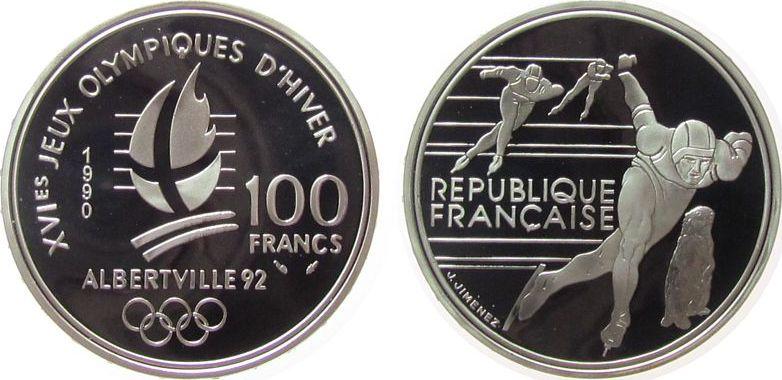 100 Francs 1990 Frankreich Ag Olympiade, Albertville, Eisschnellauf pp