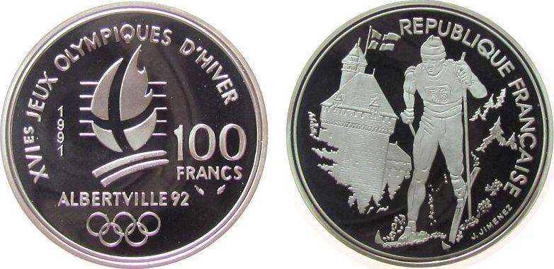 100 Francs 1991 Frankreich Ag Olympiade, Albertville, Skilanglauf pp