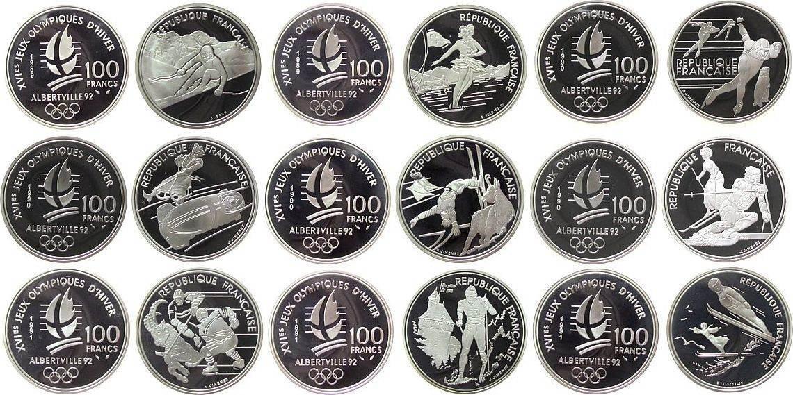 9 x 100 Francs 1989-1991 Frankreich Ag Olympiade Albertville, in Kapsel, einige Münzen können kleine Flecken aufweisen, auch können einige Münzen etwas angelaufen s pp