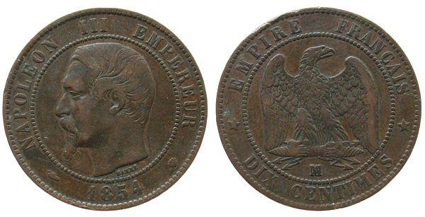 10 Centimes 1854 Frankreich Br Napoleon III, MA (Marseille), Randfehler ss