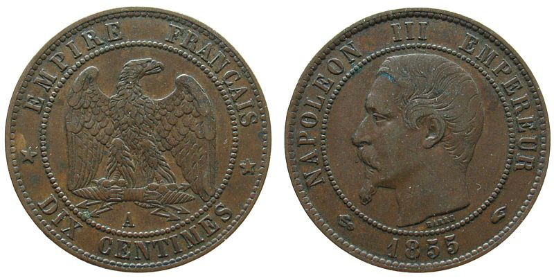 10 Centimes 1855 Frankreich Br Napoleon III, A (Paris), Anker ss