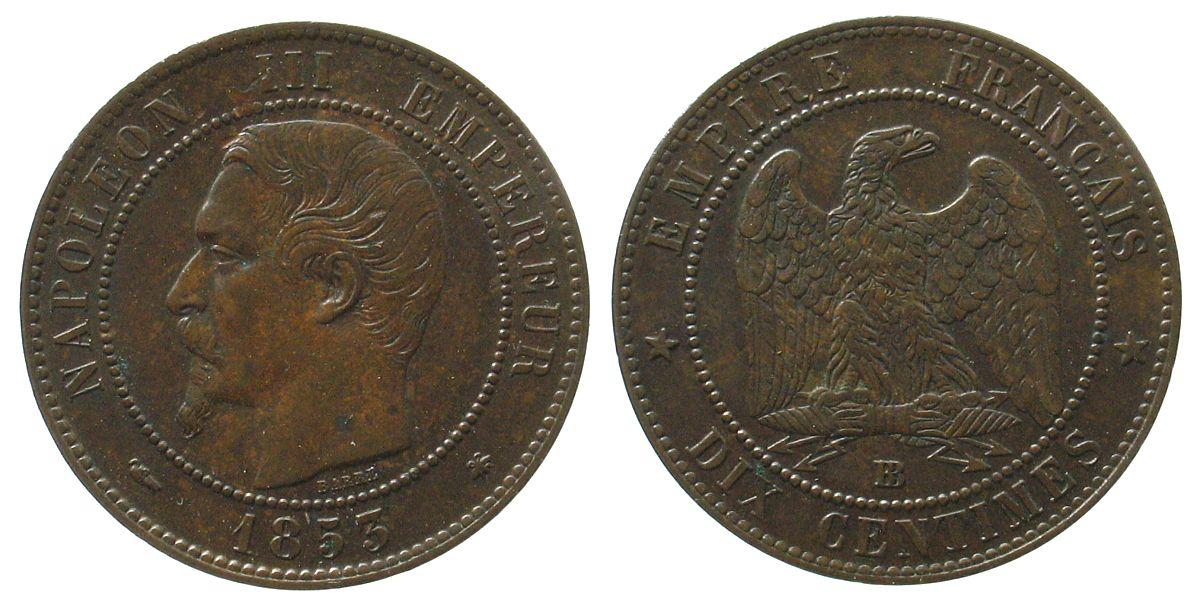 10 Centimes 1855 Frankreich Br Napoleon III, BB (Strasburg), Chien, frischer Kratzer über der Büste, minimal Grünspan vz