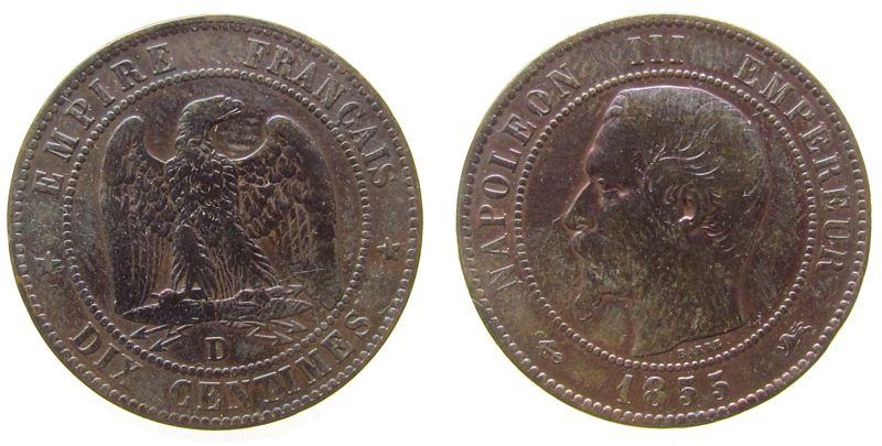 10 Centimes 1855 Frankreich Br Napoleon III, D (Lyon), Anker fast ss