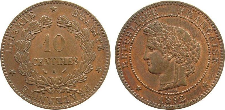 10 Centimes 1892 Frankreich Br Ceres, A (Paris) vz