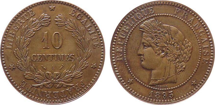 10 Centimes 1895 Frankreich Br Ceres, A (Paris) ss-