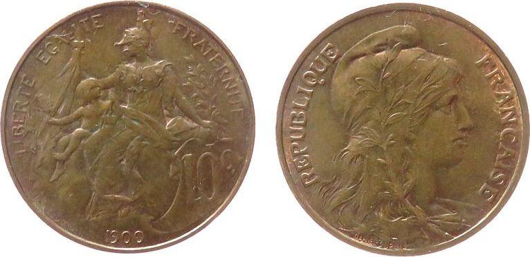 10 Centimes 1900 Frankreich Br Daniel-Dupuis vz-unc