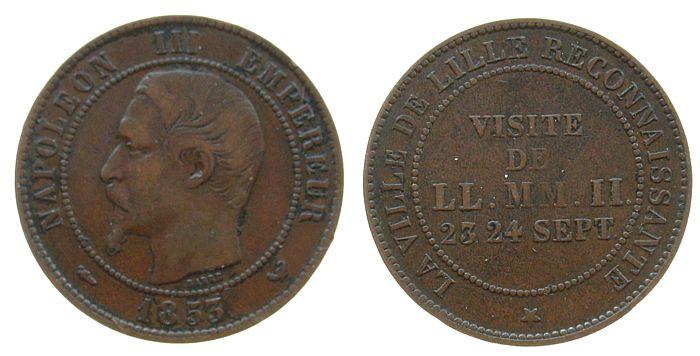 10 Centimes 1853 Frankreich Br Napoleon III, Münzbesuch in Lille ss