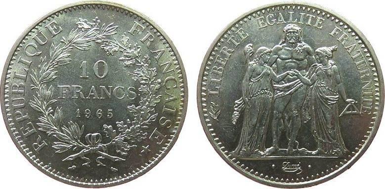 10 Francs 1965 Frankreich Ag Herculesgruppe vz-unc