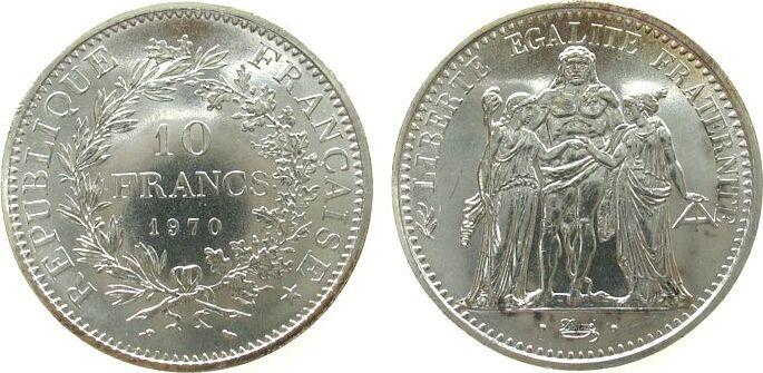 10 Francs 1970 Frankreich Ag Herkulesgruppe unz