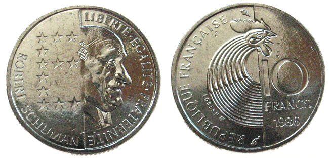 10 Francs 1986 Frankreich Ni Schuman, Schön 252 unz