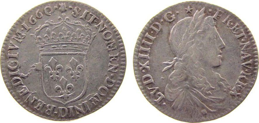 1/12 Ecu au buste juvenile 1660 Frankreich Ag Louis XIV (1643-1715), D (Lyon), Dup.1486, C.1865 ss+