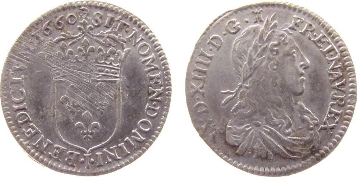 1/12 Ecu au buste juvenile 1660 Frankreich Ag Louis XIV (1643-1715), I (Limoges), Dup.1486, C.1865, justiert, A in .NAV. ungewöhnlich tief angesetzt ss+