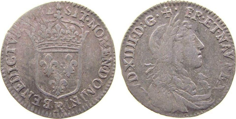 1/12 Ecu au buste juvenile 1662 Frankreich Ag Louis XIV (1643-1715), R (Saint André de Villeneuve lès Avignon), Dup.1486, C.1866, justiert gutes schön