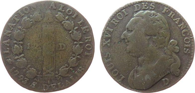 12 Deniers 1793 Frankreich Br Louis XVI, D (Lyon), Typ: Francois, 2. Emission schön