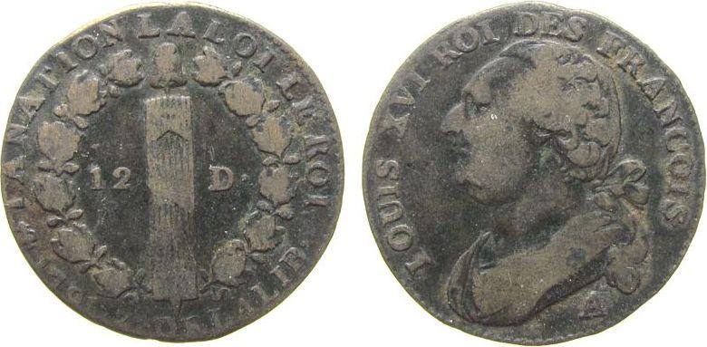 12 Deniers 1791 Frankreich Br Louis XVI, A (Paris), Typ: Francois s+