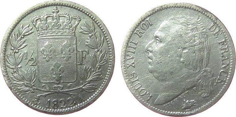 1/2 Franc 1822 Frankreich Ag Louis XVIII, A (Paris) gutes schön