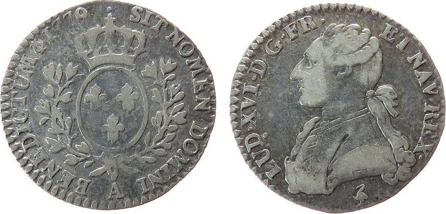 12 Sols aux lauriers 1779 Frankreich Ag Louis XVI, A (Paris), mit Punkt (2.Emission) Ciani 2191, Gad.75.1 - 2,81 Gramm ss