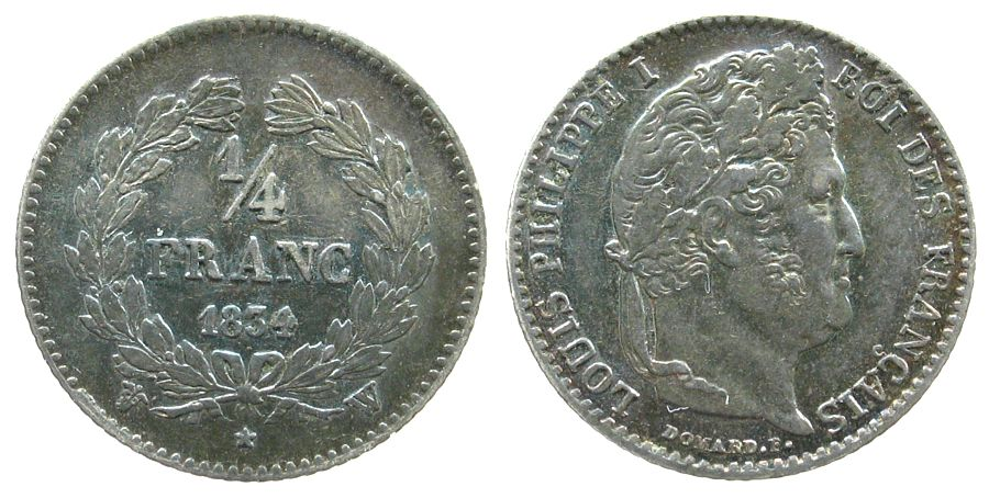 1/4 Franc 1834 Frankreich Ag Louis Philippe I, W (Lille), Patina ss+
