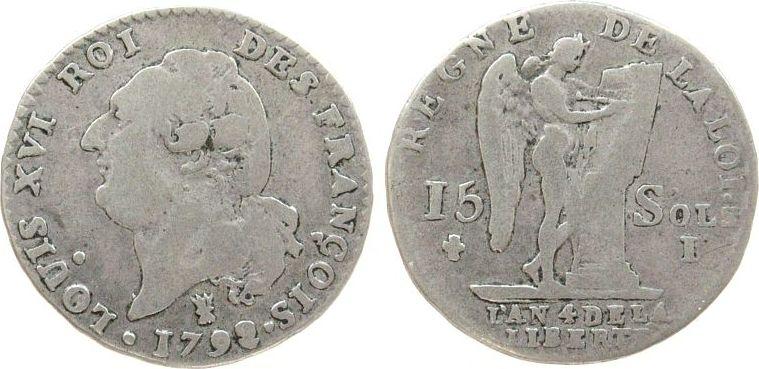15 Sols 1792 Frankreich Ag Louis XVI, I (Limoges) s+