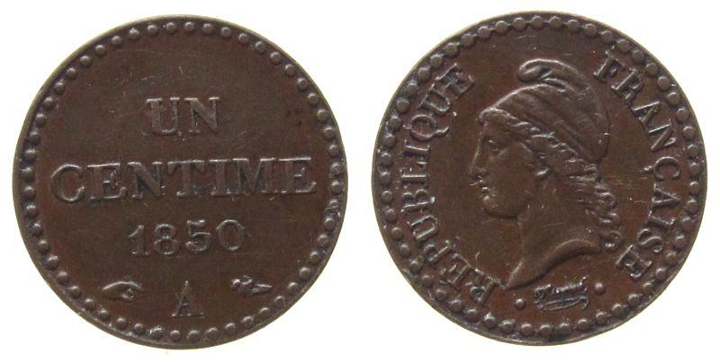 1 Centime 1850 Frankreich Br Dupré, A (Paris) vz